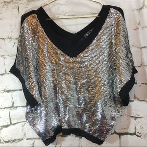 POL Black and Silver Sequin Sweater